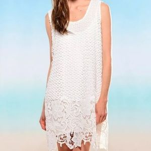 Knit Dress with Lace Overlay